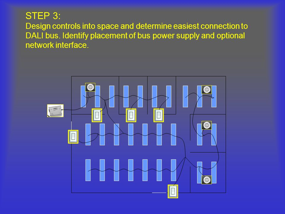 STEP 3: Design controls into space and determine easiest connection to DALI bus. Identify placement of bus power supply and optional network interface