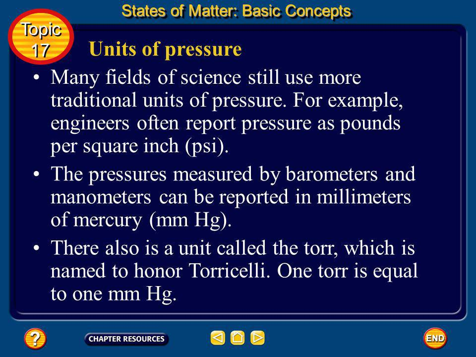 The SI unit of pressure is the pascal (Pa). Units of pressure States of Matter: Basic Concepts Topic 17 Topic 17 It is named for Blaise Pascal, a Fren