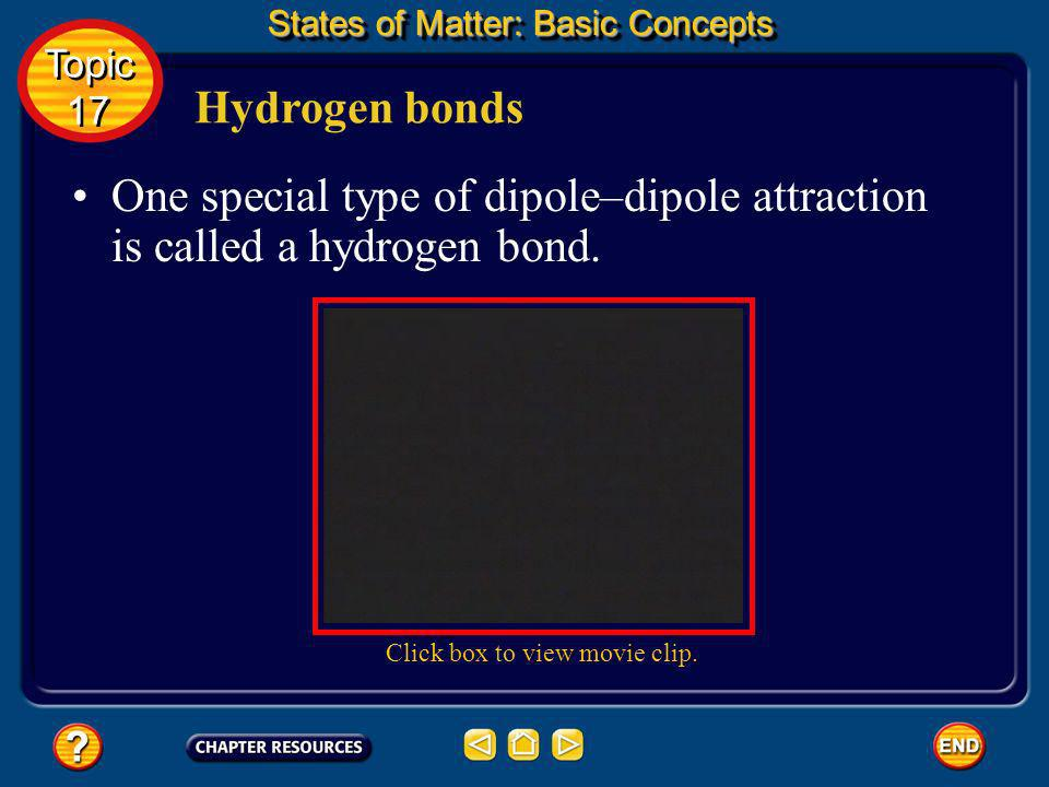 Hydrogen bonds States of Matter: Basic Concepts Topic 17 Topic 17 One special type of dipole–dipole attraction is called a hydrogen bond. A hydrogen b