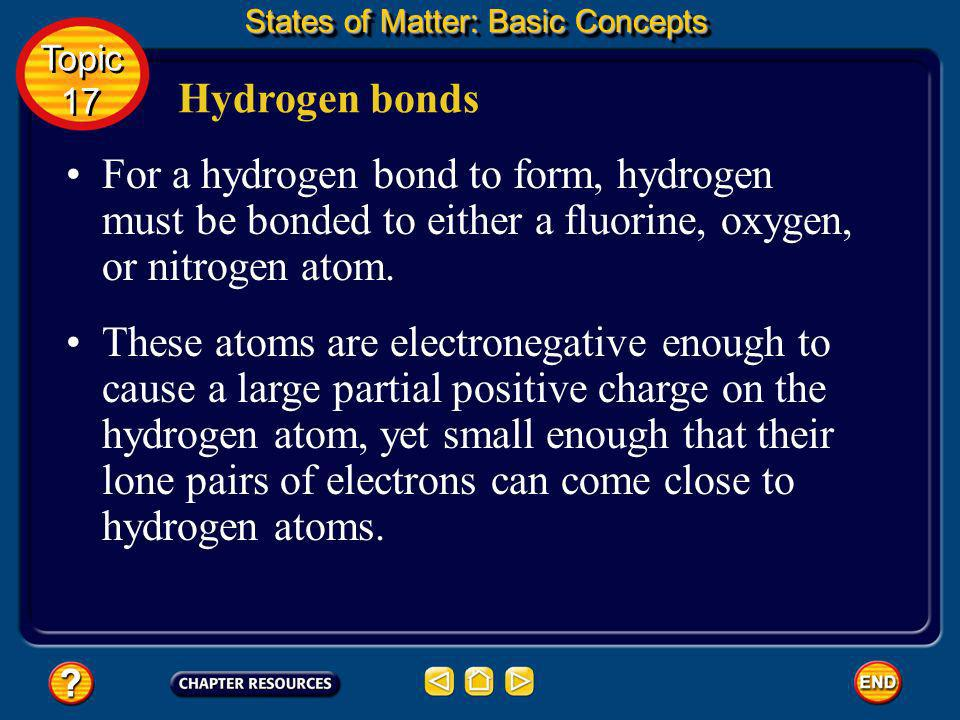 Hydrogen bonds States of Matter: Basic Concepts Topic 17 Topic 17 One special type of dipole–dipole attraction is called a hydrogen bond. Click box to