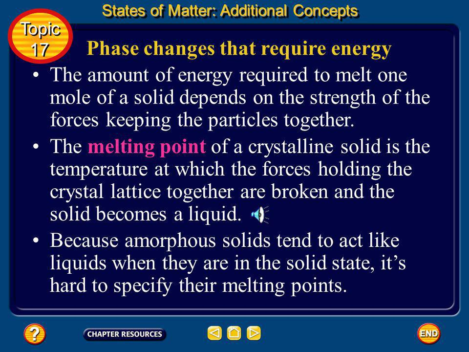 States of Matter: Additional Concepts Topic 17 Topic 17 Additional Concepts