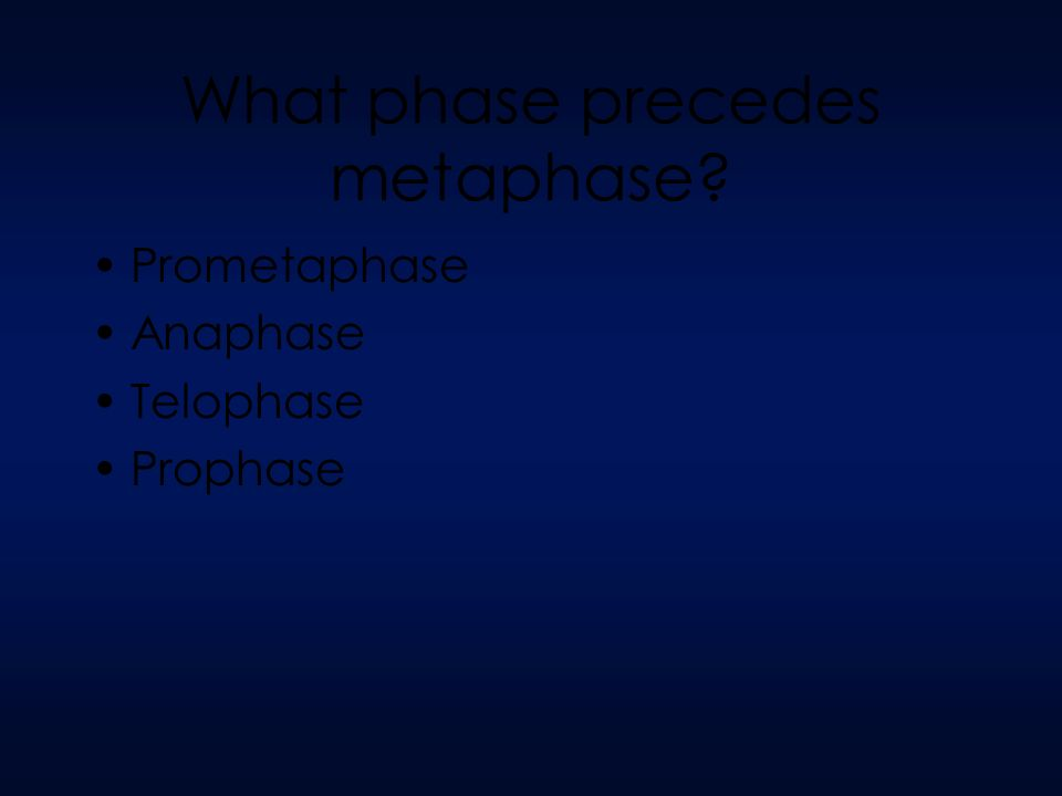 What phase precedes metaphase Prometaphase Anaphase Telophase Prophase