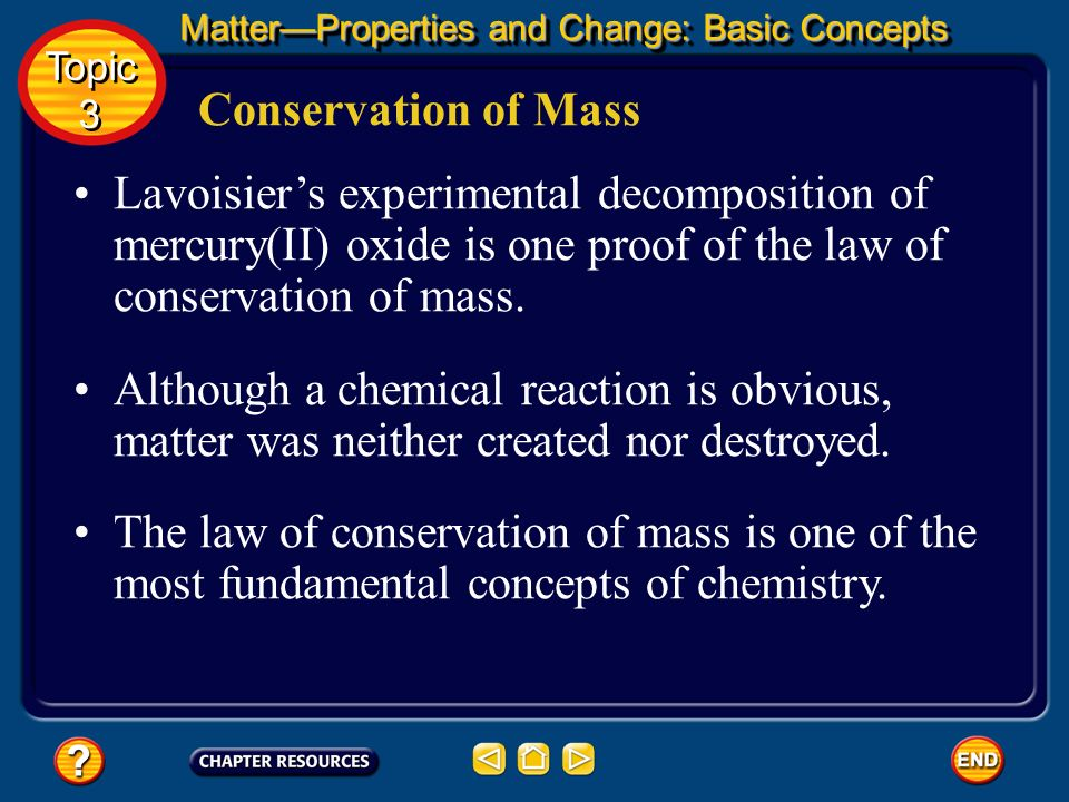 Conservation of Mass The equation form of the law of conservation of mass is: MatterProperties and Change: Basic Concepts Topic 3 Topic 3
