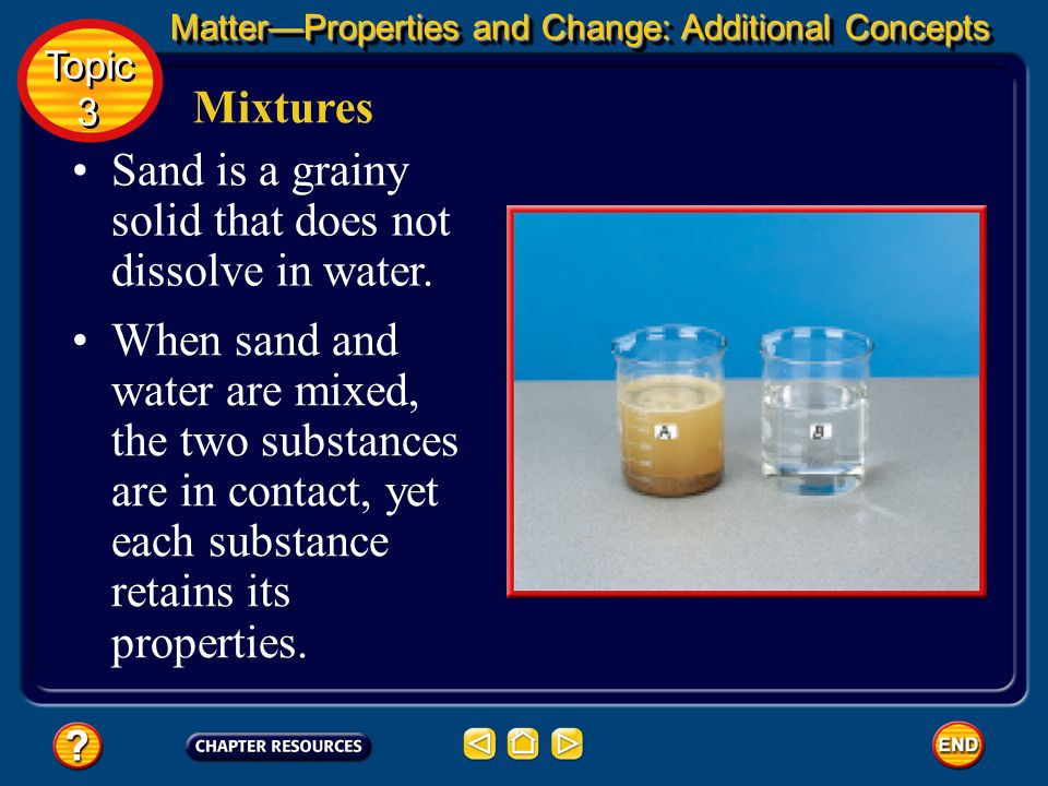 Mixtures Two mixtures, sand and water, and table salt and water, are shown. You know water to be a colorless liquid. MatterProperties and Change: Addi
