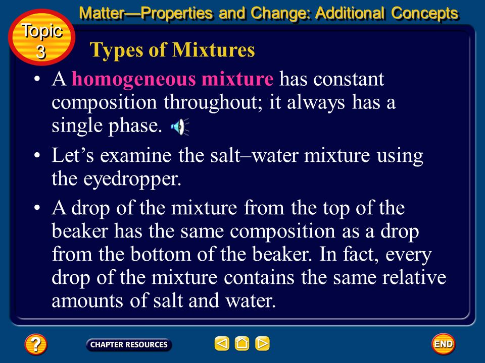 Types of Mixtures If you draw a second drop from the bottom of the mixture, that drop would contain mostly sand. Thus the composition of the sand–wate