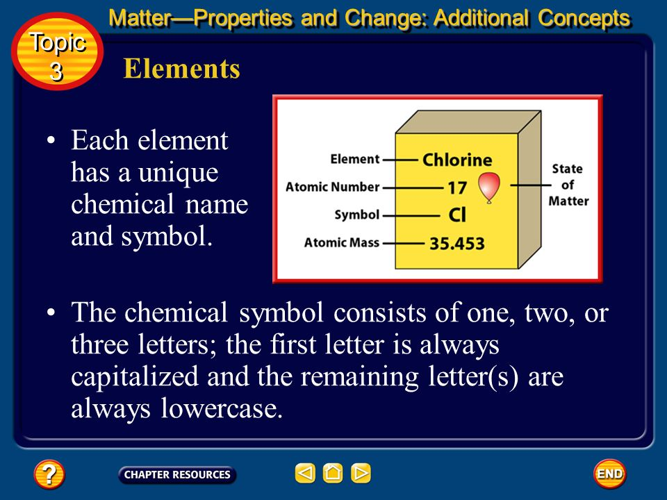 An element is a pure substance that cannot be separated into simpler substances by physical or chemical means. Elements All matter can be broken down