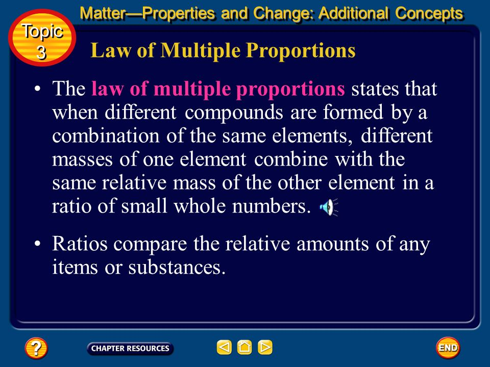 Law of Definite Proportions The ratio of the mass of each element to the total mass of the compound is a percentage called the percent by mass. The ma