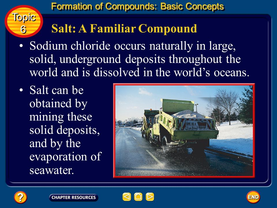 Formation of Compounds: Additional Concepts Naming ionic compounds four oxygens, per + root + - ate (example: perchlorate, ClO 4 – ) Topic 6 Topic 6 three oxygens, root + -ate (example: chlorate, ClO 3 – )