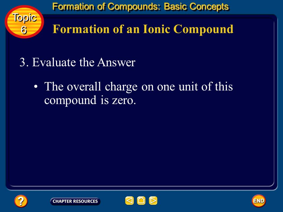 Formation of an Ionic Compound Formation of Compounds: Basic Concepts Topic 6 Topic 6 2. Solve for the Unknown Remember that the number of electrons l