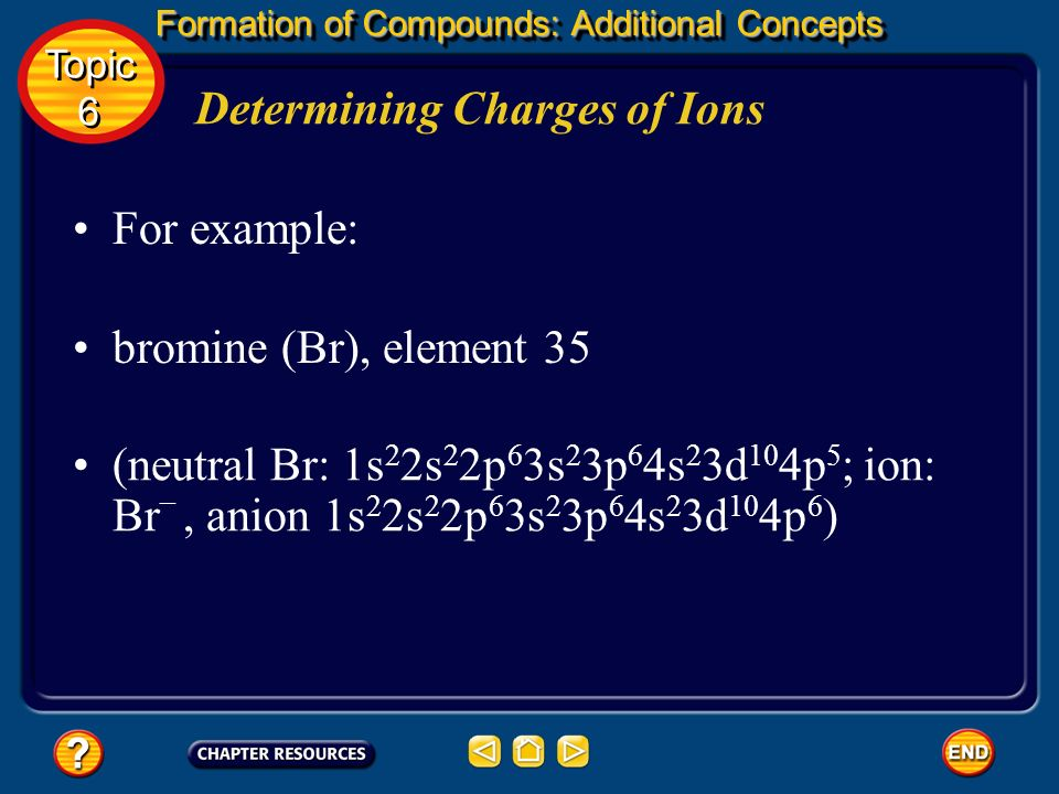 Formation of Compounds: Additional Concepts Determining Charges of Ions To determine the electron configuration, refer to the periodic table. Write th