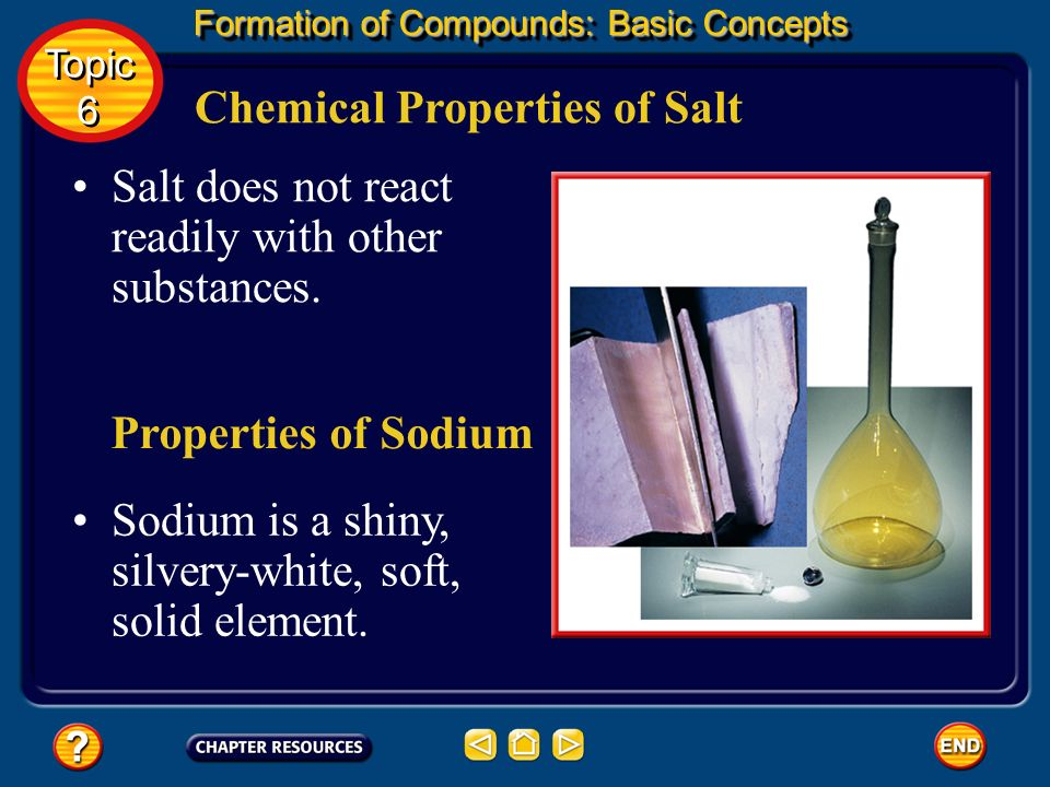 Electrons Can Be Transferred Formation of Compounds: Basic Concepts Topic 6 Topic 6 Because the chlorine atom now has an extra electron, it has a negative charge.
