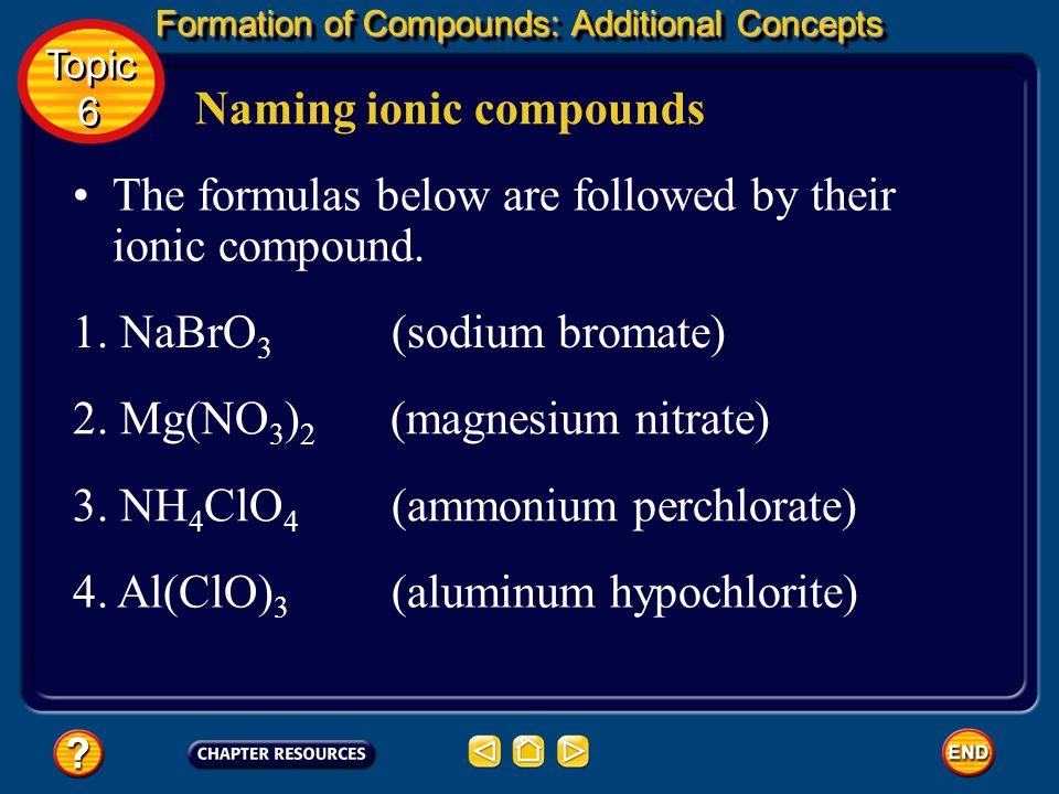 Formation of Compounds: Additional Concepts Naming ionic compounds Topic 6 Topic 6 two oxygens, root + -ite (example: chlorite, ClO 2 – ) one oxygen,