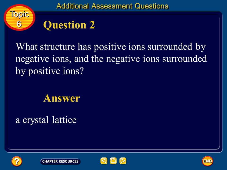 Additional Assessment Questions What is the electron configuration, in abbreviated form, for nickel? Question 1 Topic 6 Topic 6 [Ar]4s 2 3d 8 Answer