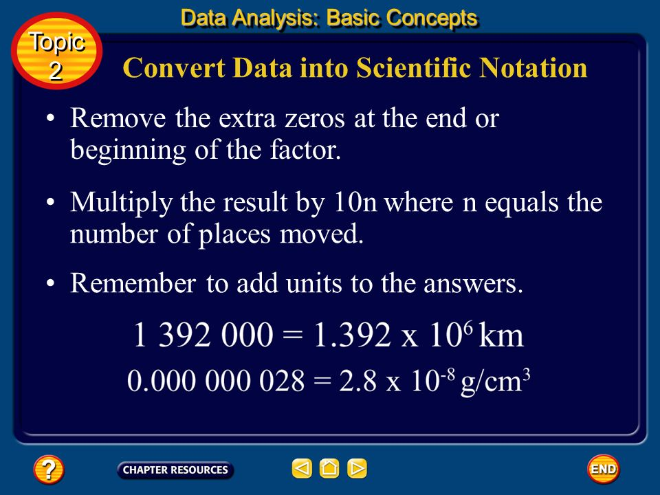 Convert Data into Scientific Notation Move the decimal point to produce a factor between 1 and 10. Count the number of places the decimal point moved