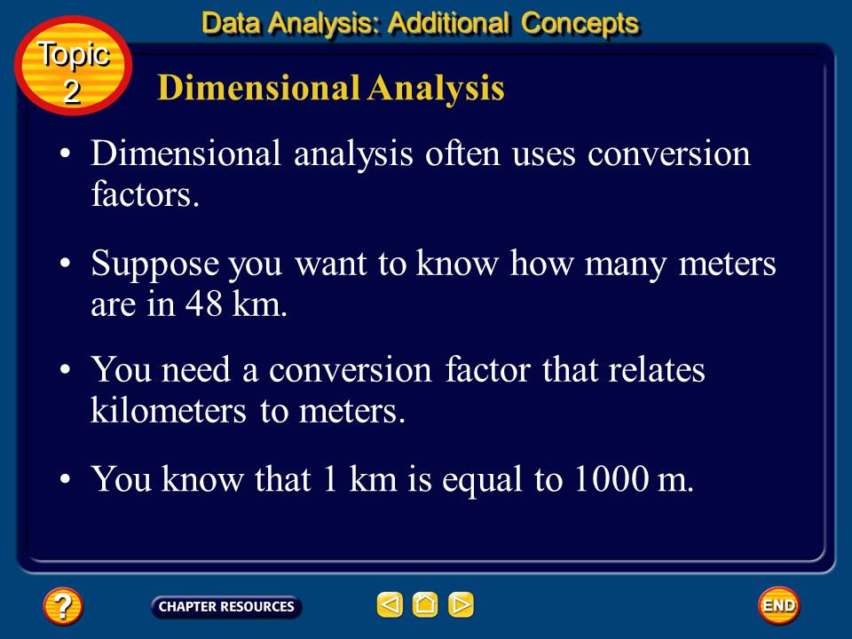 Dimensional Analysis A conversion factor is always equal to 1. Because a quantity does not change when it is multiplied or divided by 1, conversion fa