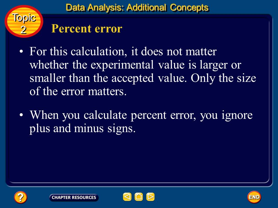 Percent error is the ratio of an error to an accepted value. Percent error Scientists want to know what percent of the accepted value an error represe