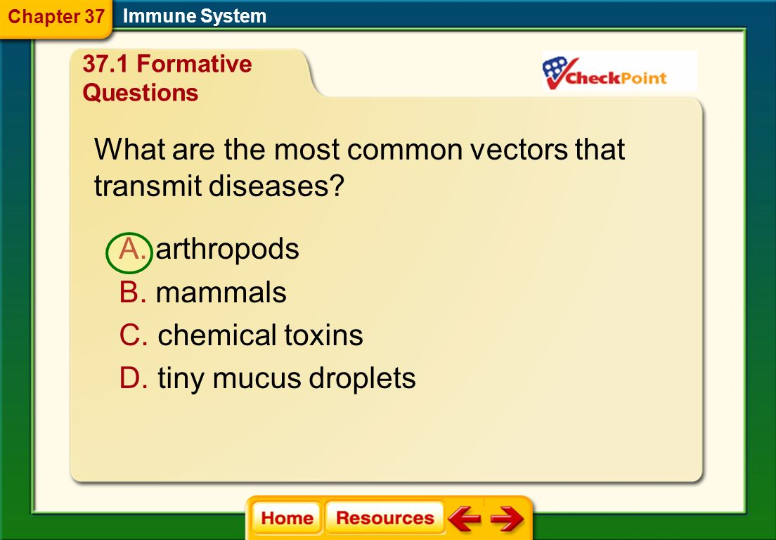 What is a disease reservoir? A. the source of a pathogen B. the organ the pathogen infects C. the medium that transmits the pathogen Chapter 37 37.1 F