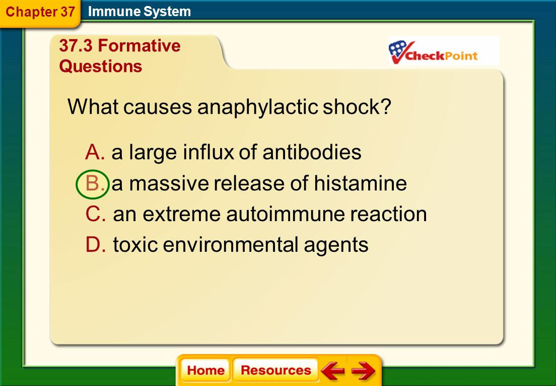What is an abnormal inflammatory response to an environmental antigen that is not pathogenic? A. an allergy B. an autoimmunity C. an anaphylactic reac