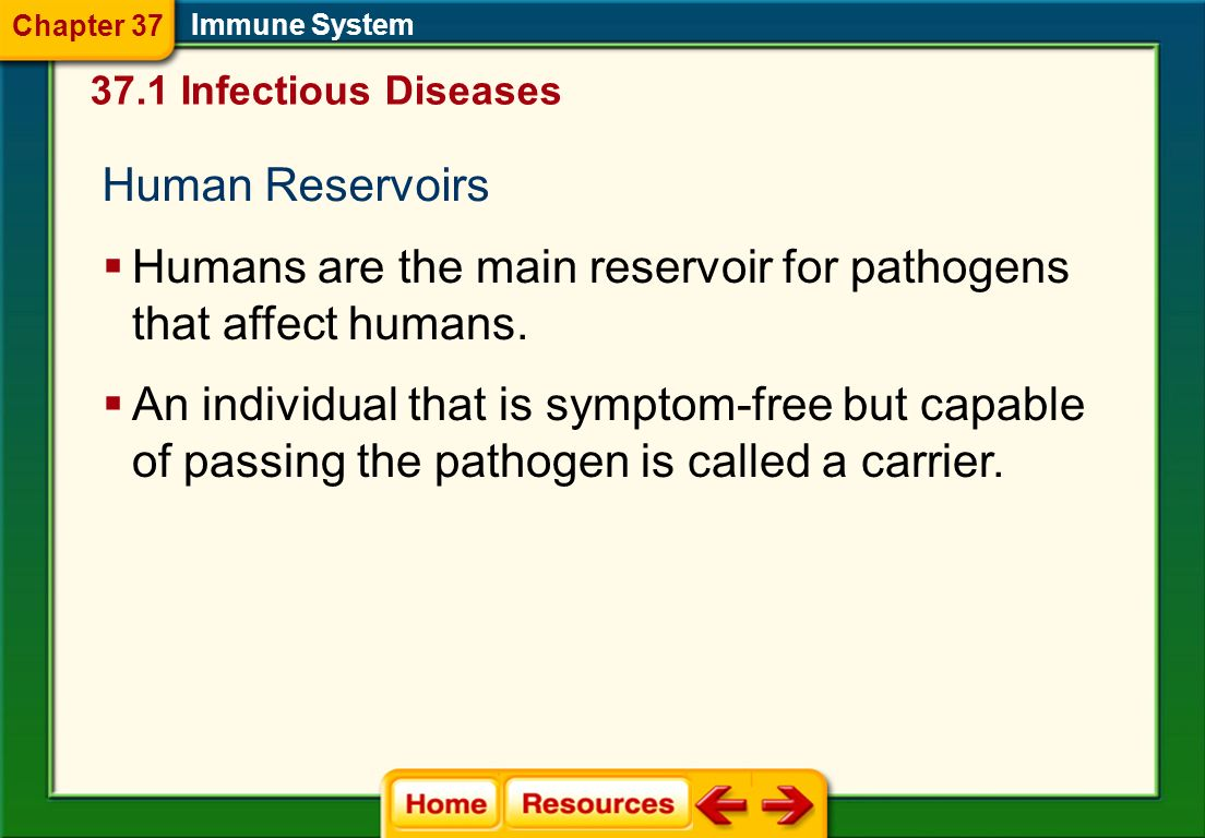 Spread of Disease A disease reservoir is a source of the pathogen in the environment. Reservoirs might be animals, people, or inanimate objects, such