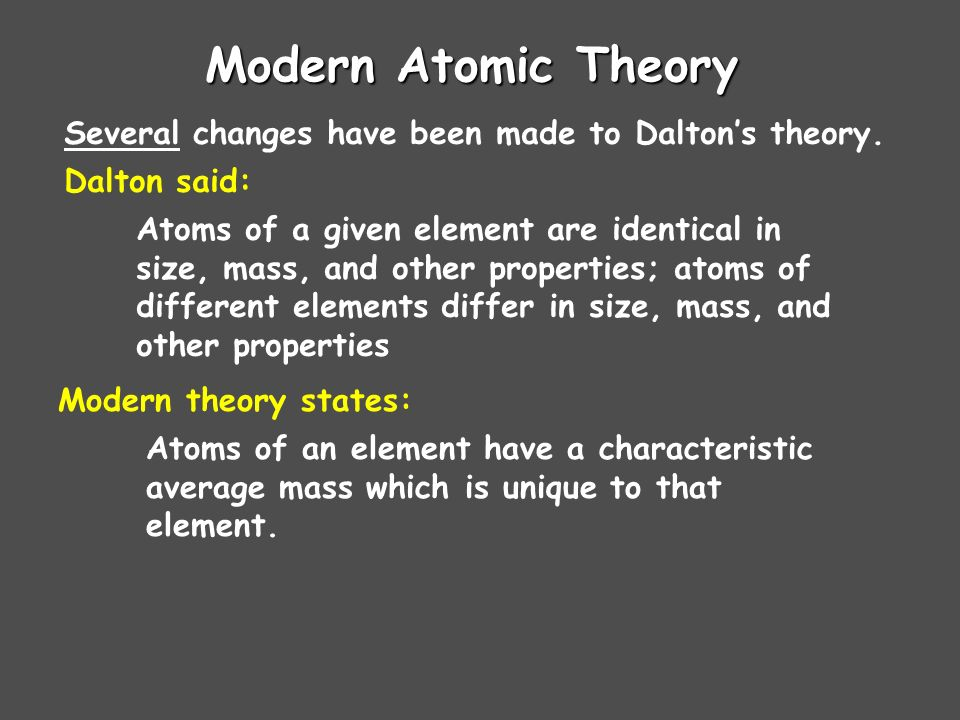 Daltons Atomic Theory (1808) Atoms cannot be subdivided, created, or destroyed Atoms of different elements combine in simple whole-number ratios to fo