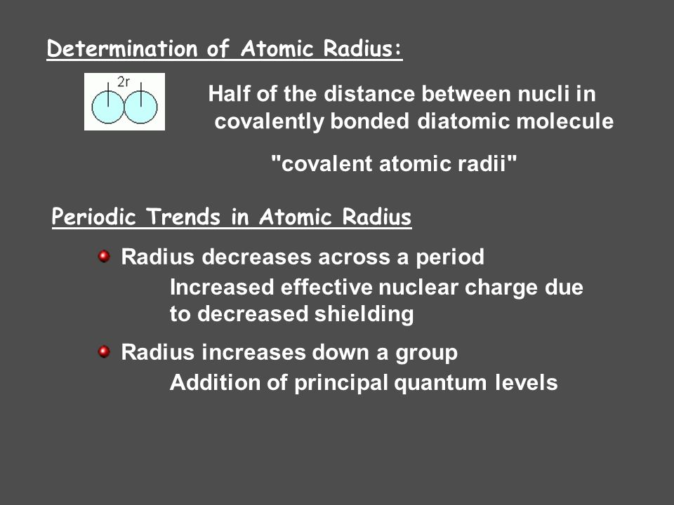 Half of the distance between nucli in covalently bonded diatomic molecule covalent atomic radii Periodic Trends in Atomic Radius Radius decreases across a period Increased effective nuclear charge due to decreased shielding Radius increases down a group Addition of principal quantum levels Determination of Atomic Radius: