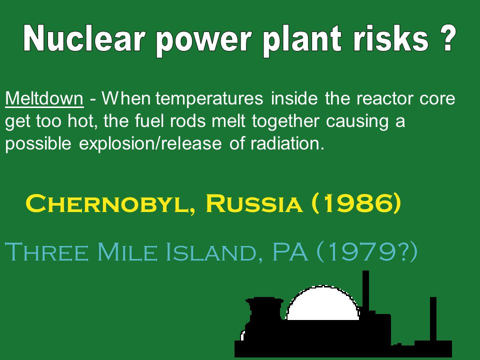 Meltdown - When temperatures inside the reactor core get too hot, the fuel rods melt together causing a possible explosion/release of radiation. Chern