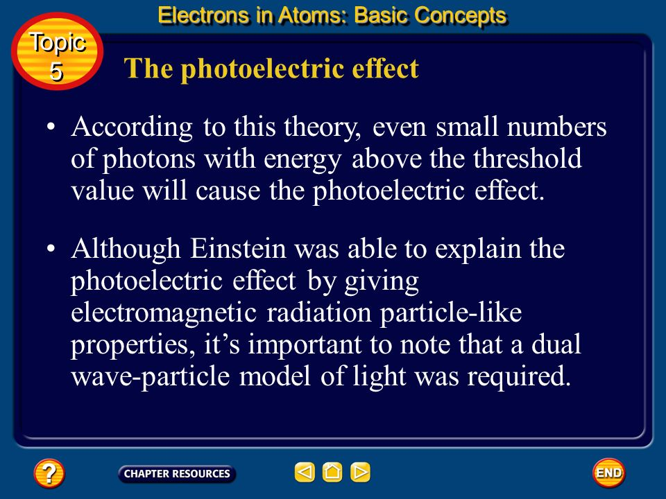 The photoelectric effect Further, Einstein proposed that the energy of a photon of light must have a certain minimum, or threshold, value to cause the