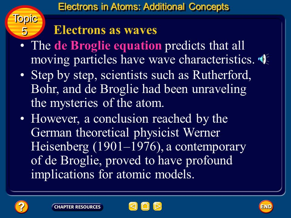 Electrons as waves De Broglie knew that if an electron has wavelike motion and is restricted to circular orbits of fixed radius, the electron is allow