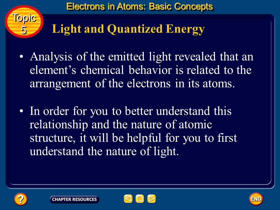 Analysis of the emitted light revealed that an elements chemical behavior is related to the arrangement of the electrons in its atoms.