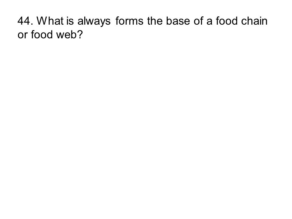 44. What is always forms the base of a food chain or food web?