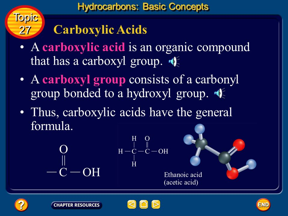 Ketones Hydrocarbons: Basic Concepts Topic 27 Topic 27 A carbonyl group also can be located within a carbon chain rather than at the end. A ketone is