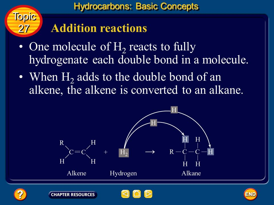 Addition reactions Hydrocarbons: Basic Concepts Topic 27 Topic 27 A reaction that involves the addition of hydrogen to atoms in a double or triple bon