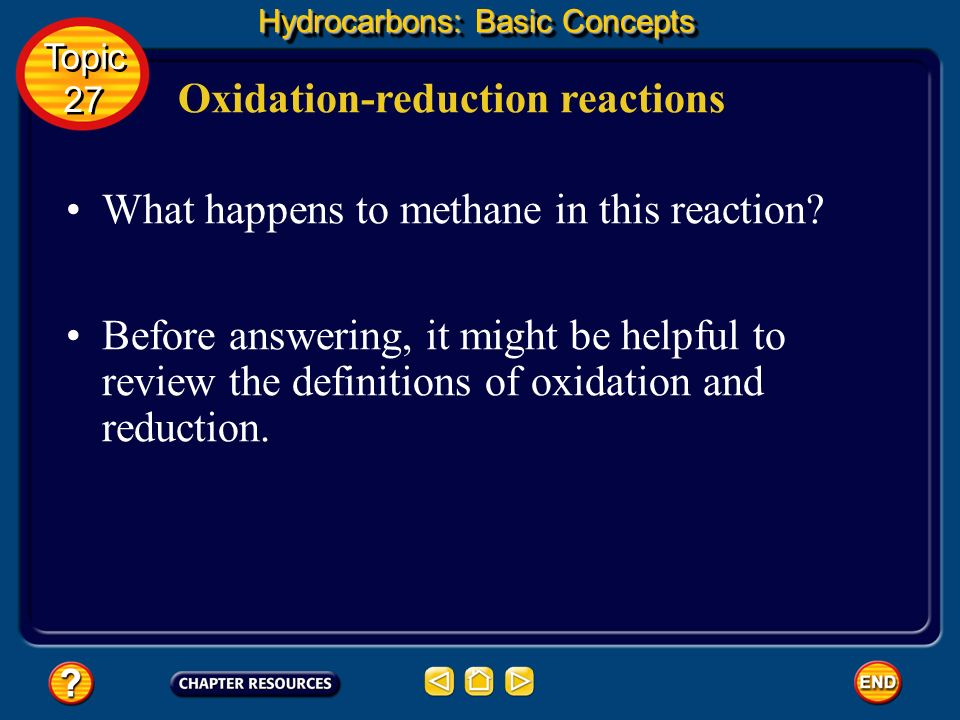 Oxidation-reduction reactions Hydrocarbons: Basic Concepts Topic 27 Topic 27 The conversion of methane to methanol may be represented by the following