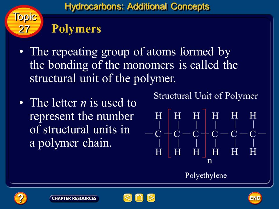 Hydrocarbons: Additional Concepts Polymers A polymer is a large molecule consisting of many repeating structural units. Topic 27 Topic 27 Polymers are