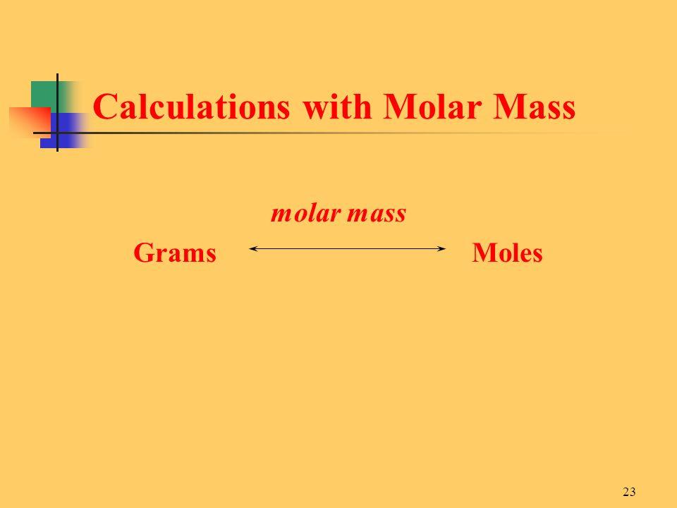 23 molar mass Grams Moles Calculations with Molar Mass