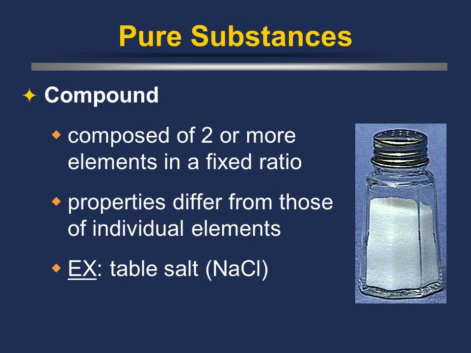 Pure Substances Element composed of identical atoms EX: copper wire, aluminum foil