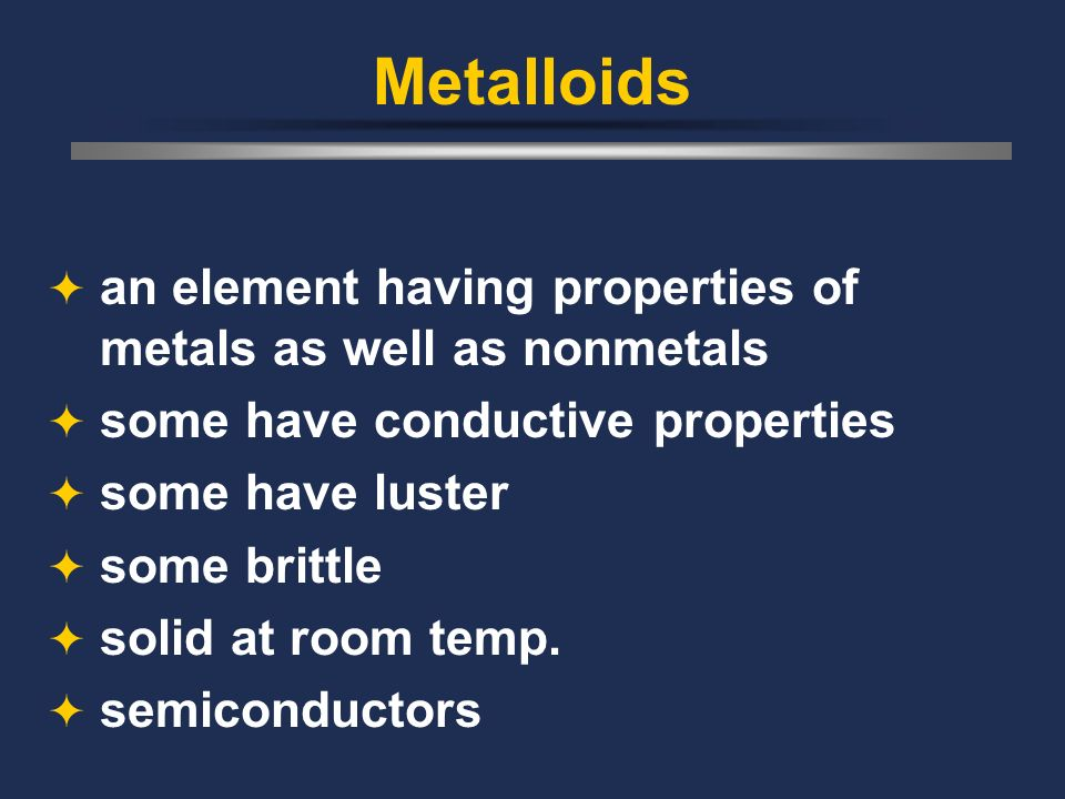Nonmetals second largest region on table vary in properties a bit poor conductor gases or brittle solids at room temp.