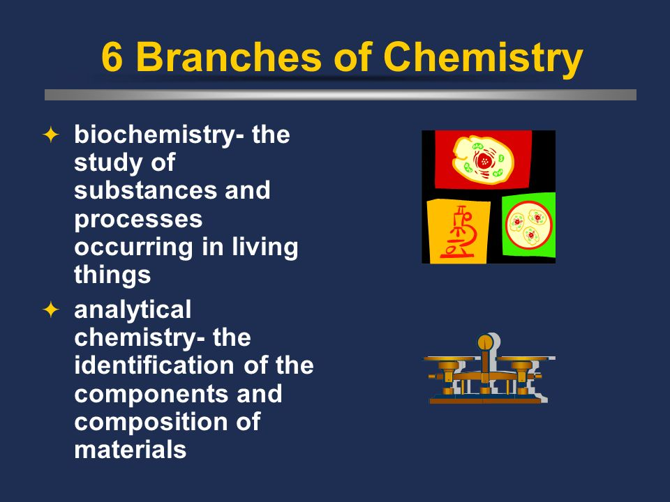 6 Branches of Chemistry organic chemistry- the study of most carbon-containing chemicals inorganic chemistry- the study of nonorganic substances