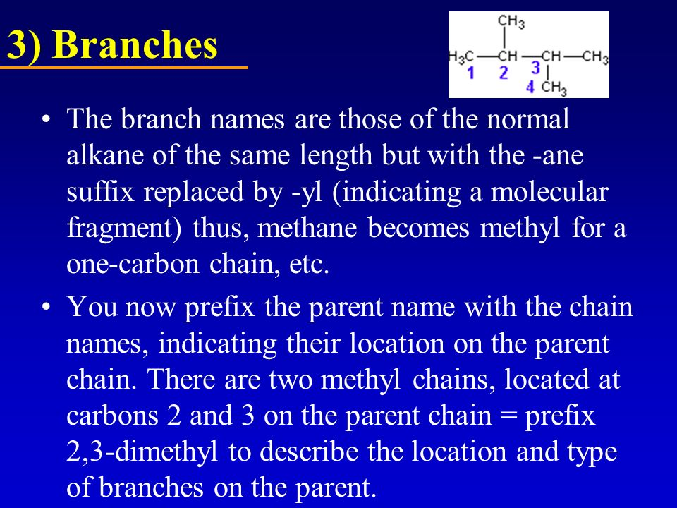 3) Branches The branch names are those of the normal alkane of the same length but with the -ane suffix replaced by -yl (indicating a molecular fragme