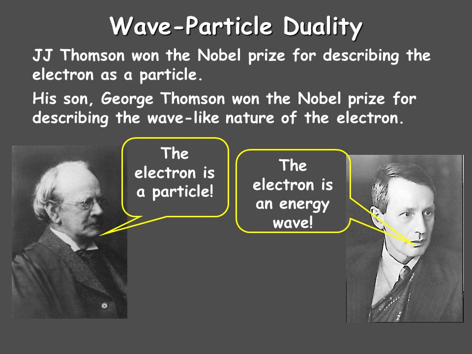 Wave-Particle Duality JJ Thomson won the Nobel prize for describing the electron as a particle.