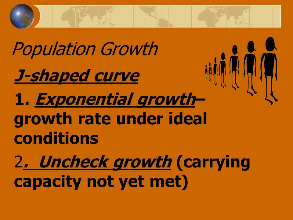 Population Growth J-shaped curve 1. Exponential growth– growth rate under ideal conditions 2. Uncheck growth (carrying capacity not yet met)