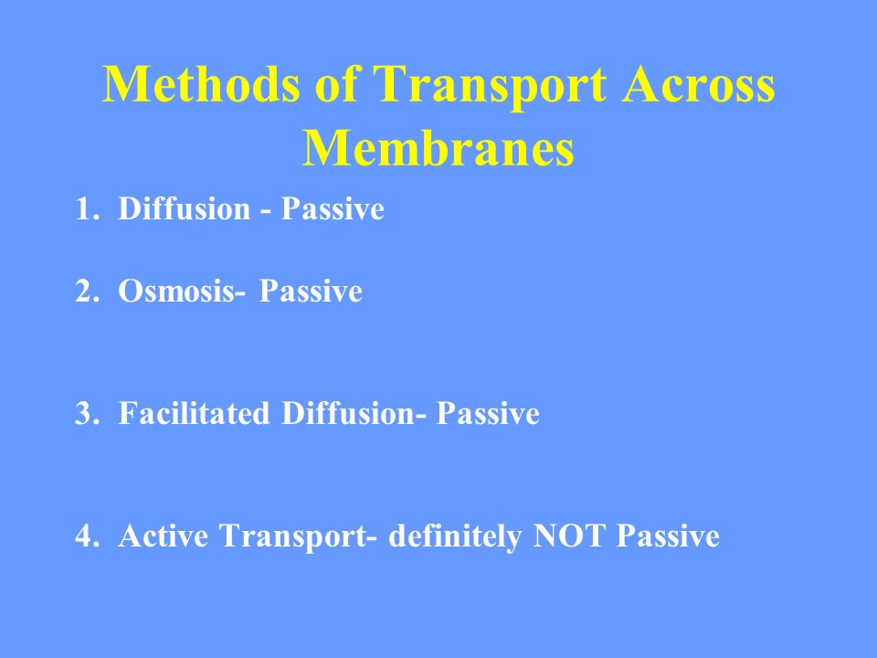 Methods of Transport Across Membranes 1. Diffusion - Passive 2.