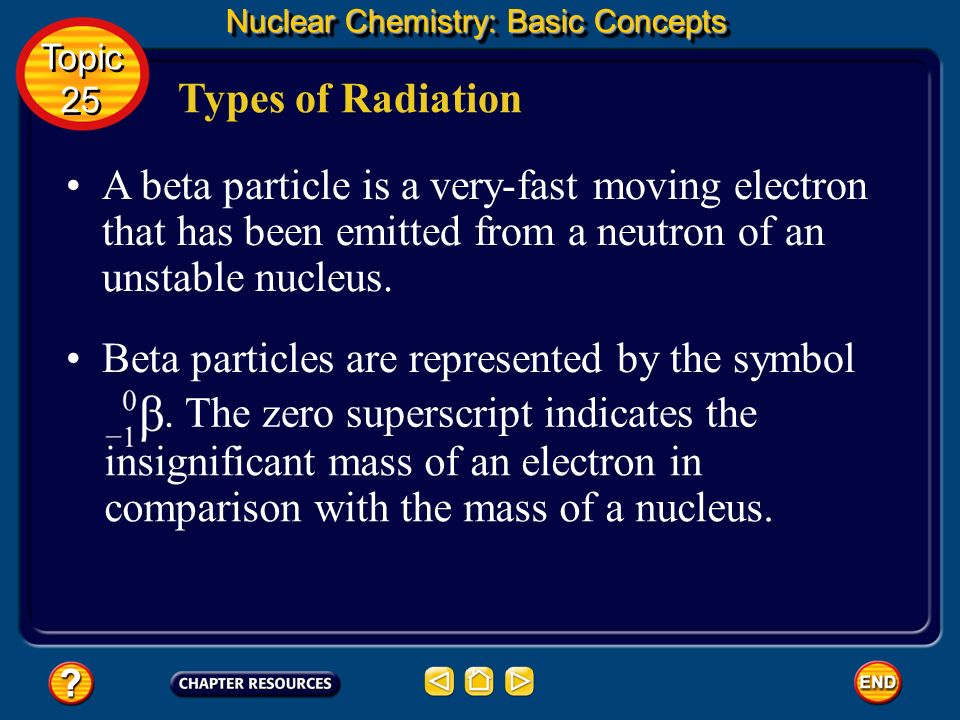 Types of Radiation Nuclear Chemistry: Basic Concepts Because of their mass and charge, alpha particles are relatively slow-moving compared with other