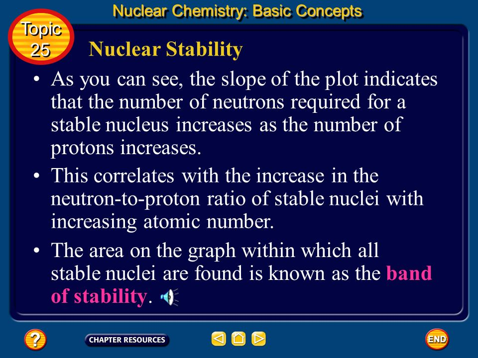 Nuclear Stability Nuclear Chemistry: Basic Concepts Examine the plot of the number of neutrons versus the number of protons for all known stable nucle