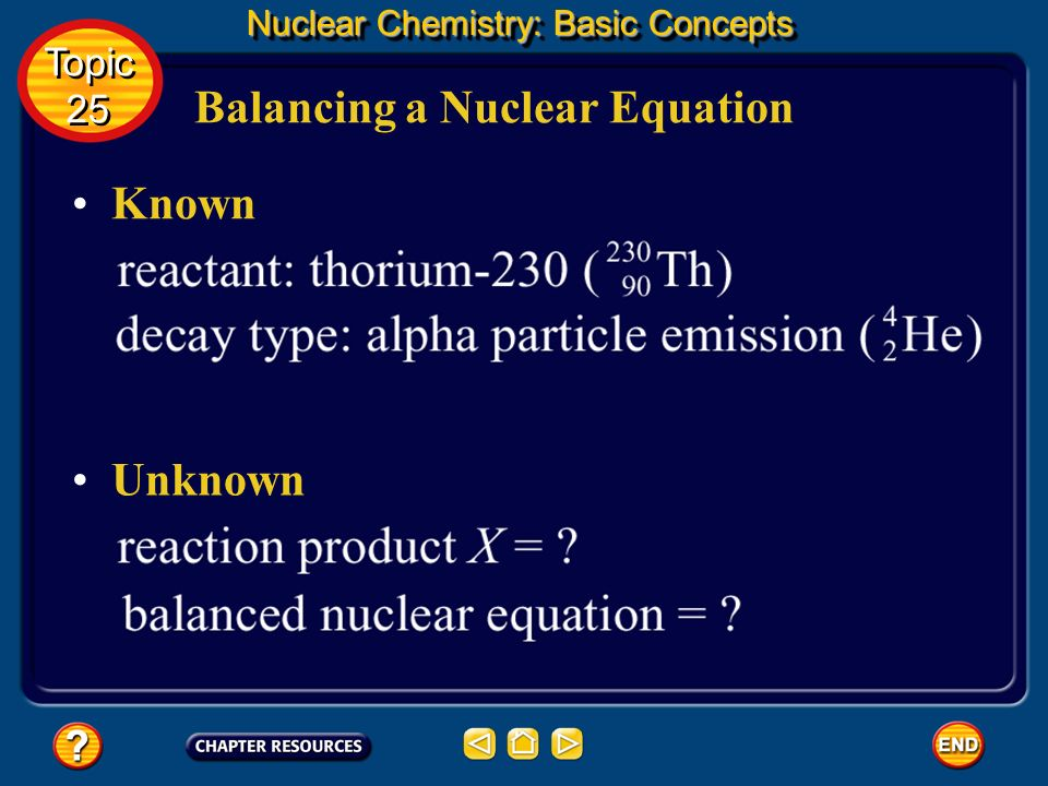 Balancing a Nuclear Equation Nuclear Chemistry: Basic Concepts You must determine the unknown product of the reaction, X. This can be done through the