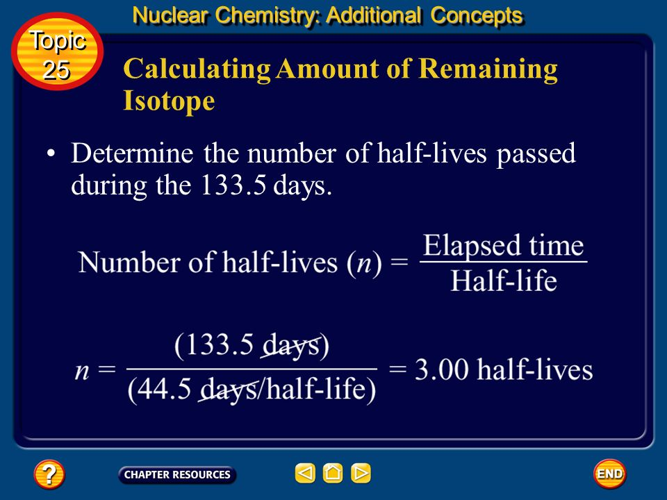 Nuclear Chemistry: Additional Concepts Known Initial amount = 2.000 mg Elapsed time (t) = 133.5 days Half-life (T) = 44.5 days Unknown Amount remainin