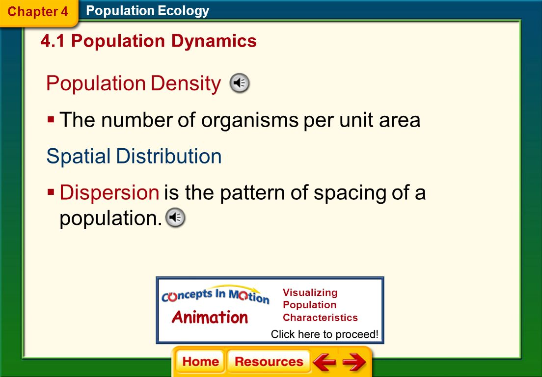 Click on a lesson name to select. Chapter 4 Population Ecology Section 1: Population Dynamics Section 2: Human Population