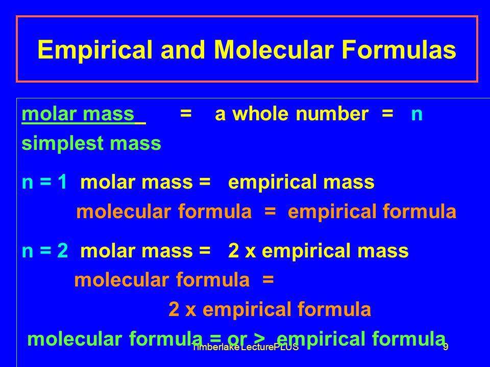 Timberlake LecturePLUS10 Empirical Formula Empirical Mass Molecular Formula Molecular Mass