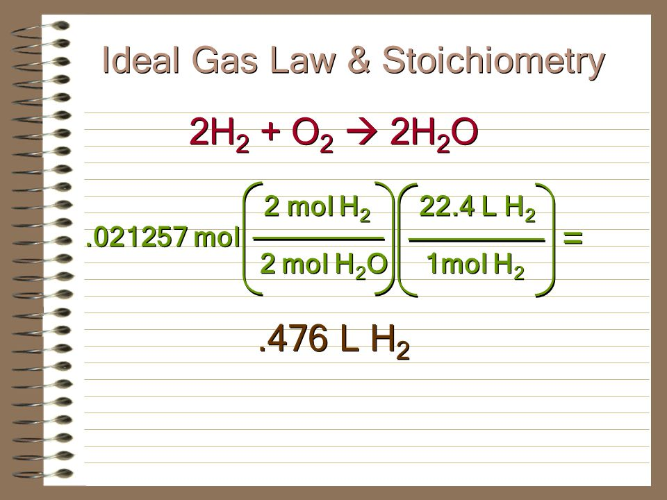 Ideal Gas Law & Stoichiometry What volume of hydrogen gas must be burned to form 1.00 L of water vapor at 1.00 atm pressure and 300°C.