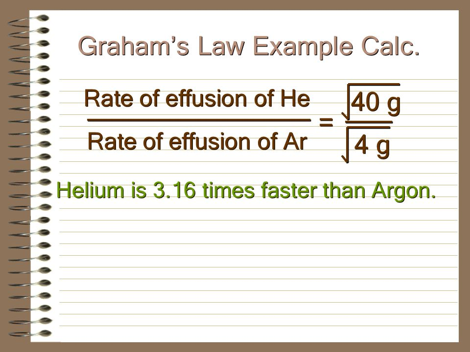 If equal amounts of helium and argon are placed in a porous container and allowed to escape, which gas will escape faster and how much faster.